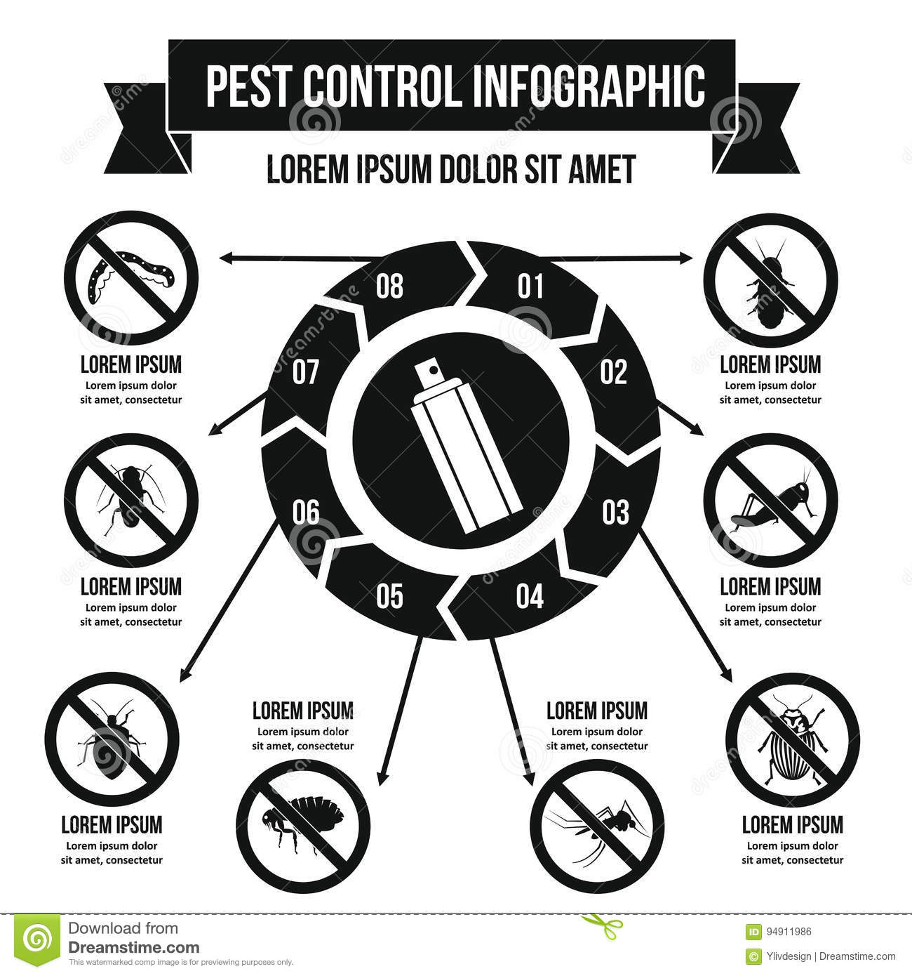 Pest Control Infographic Concept Simple Style Stock