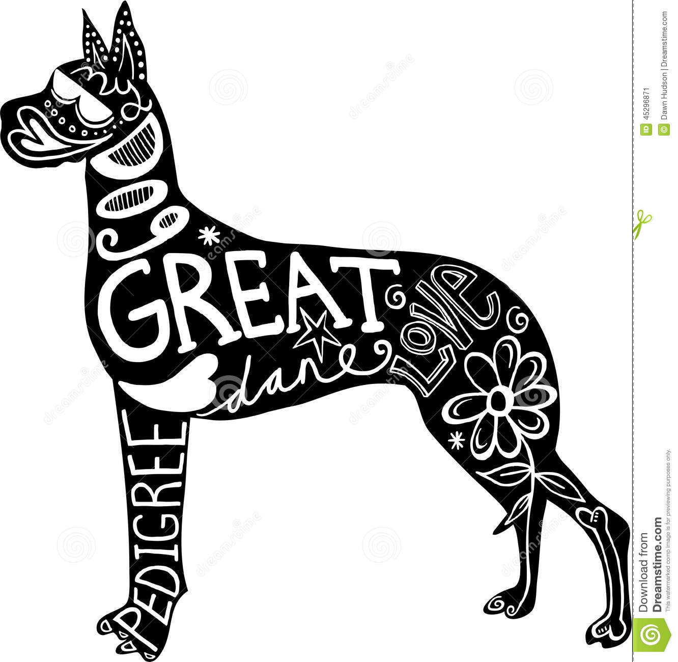 Pet Great Dane Dog Stock Illustration Illustration Of