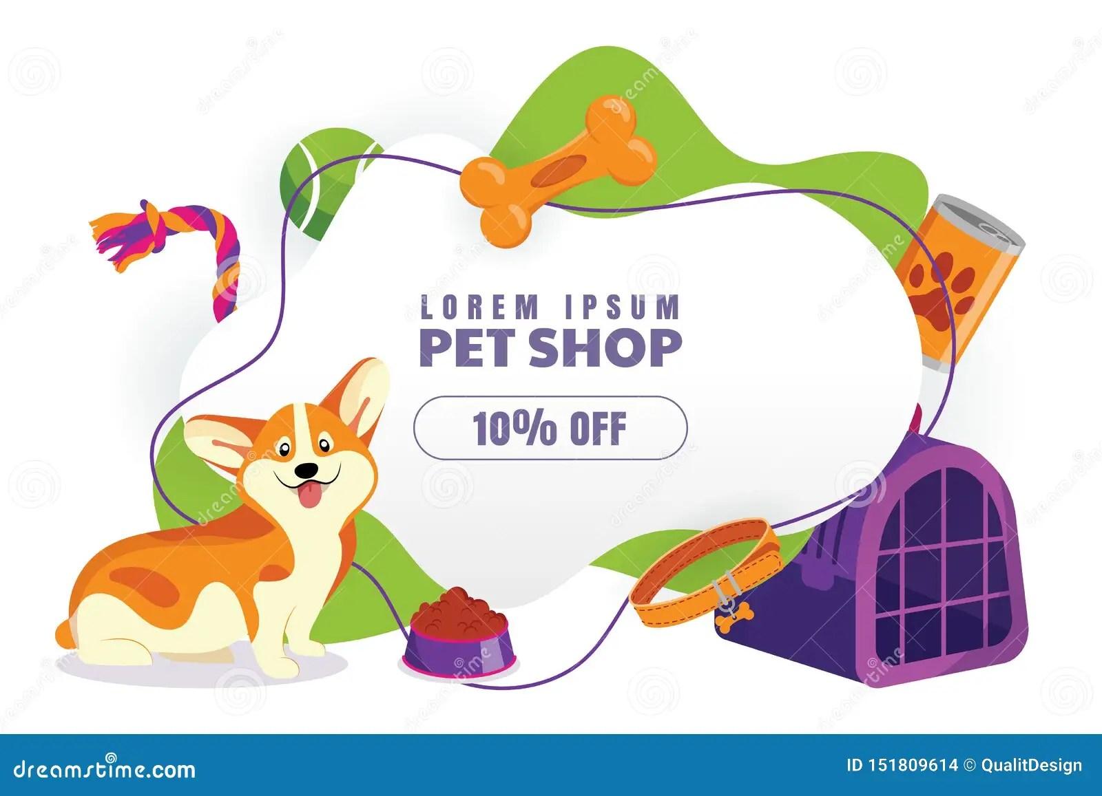 https www dreamstime com pet shop sale poster banner design template vector cartoon illustration animal foods accessories toys store pet shop image151809614