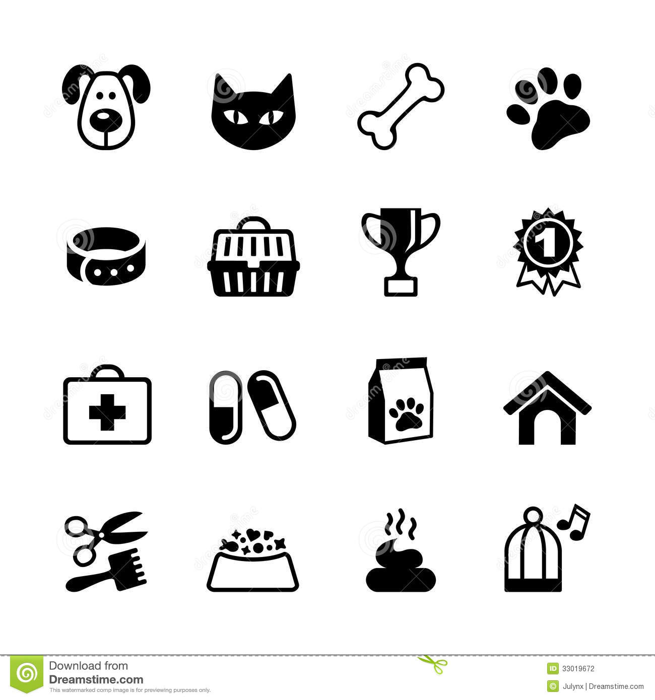 Pets Icons Set Stock Vector Illustration Of Animal