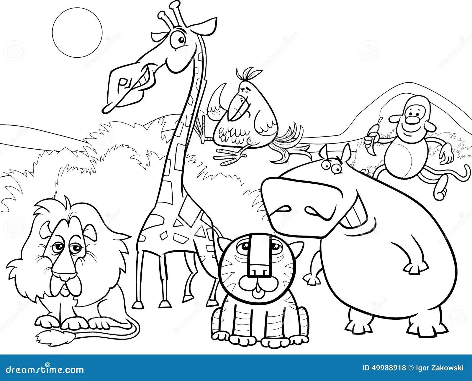 Pagina Da Coloracao Do Grupo De Animais Selvagens