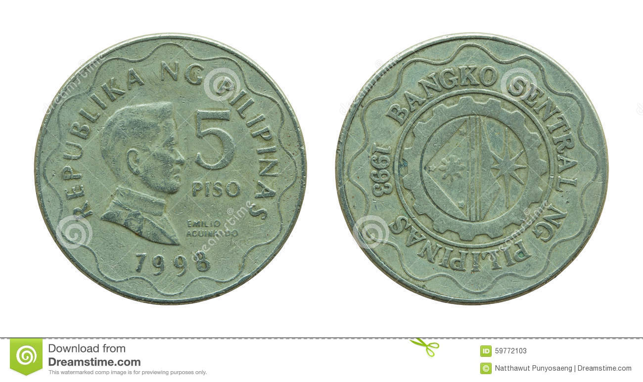 Philippine Five Peso Coins Isolated On White Stock Photo