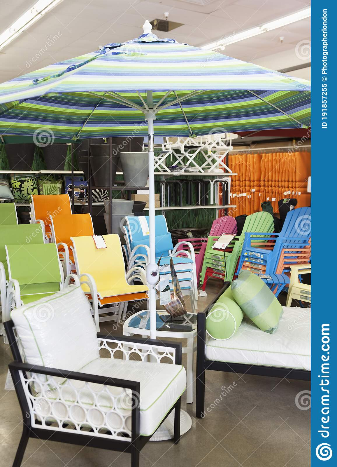 seating furniture and patio umbrella for sale in garden furniture store stock image image of fishing location 191857255