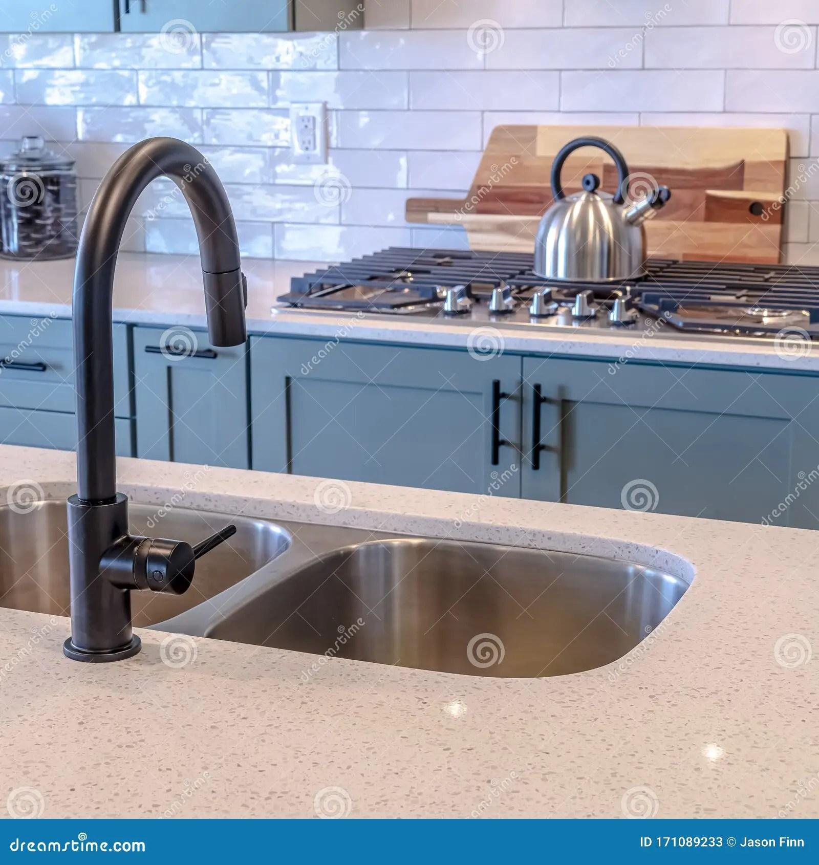 https www dreamstime com photo square frame kitchen island double sink black faucet against cooktop tile backsplash wooden cabinets handles can image171089233