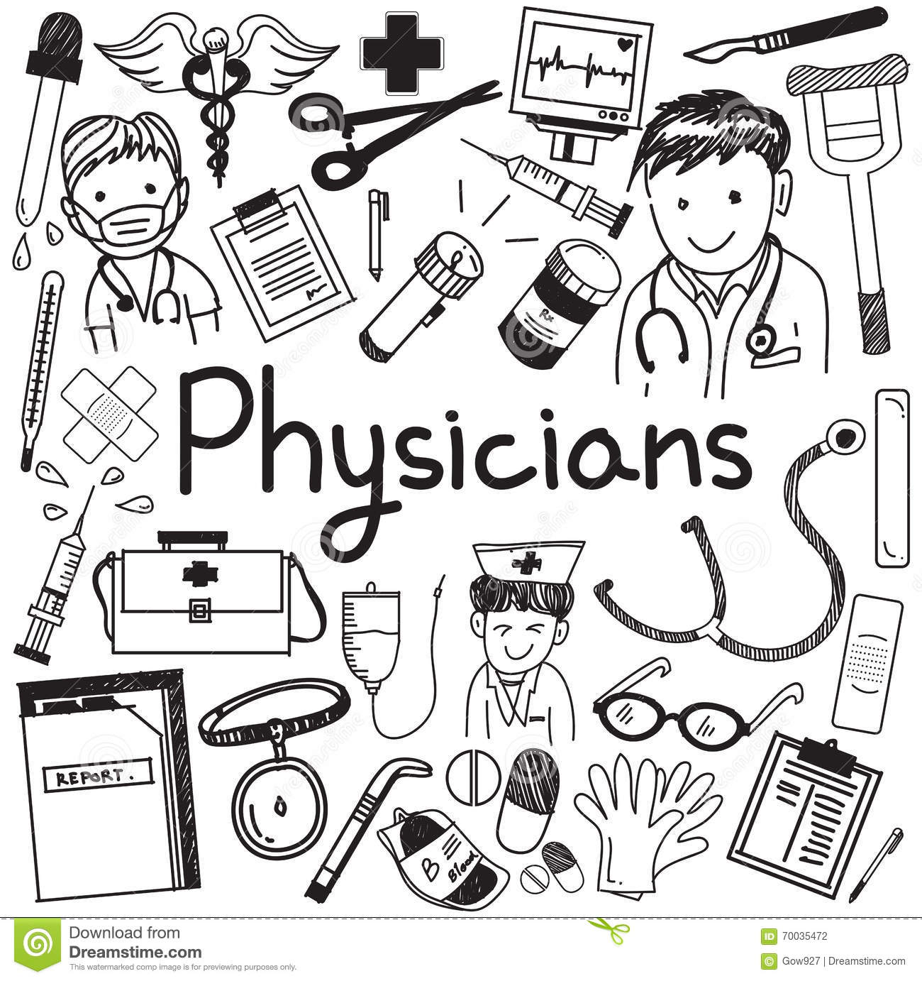 Physician Doctor And Other Medic Professions Doodle Icon