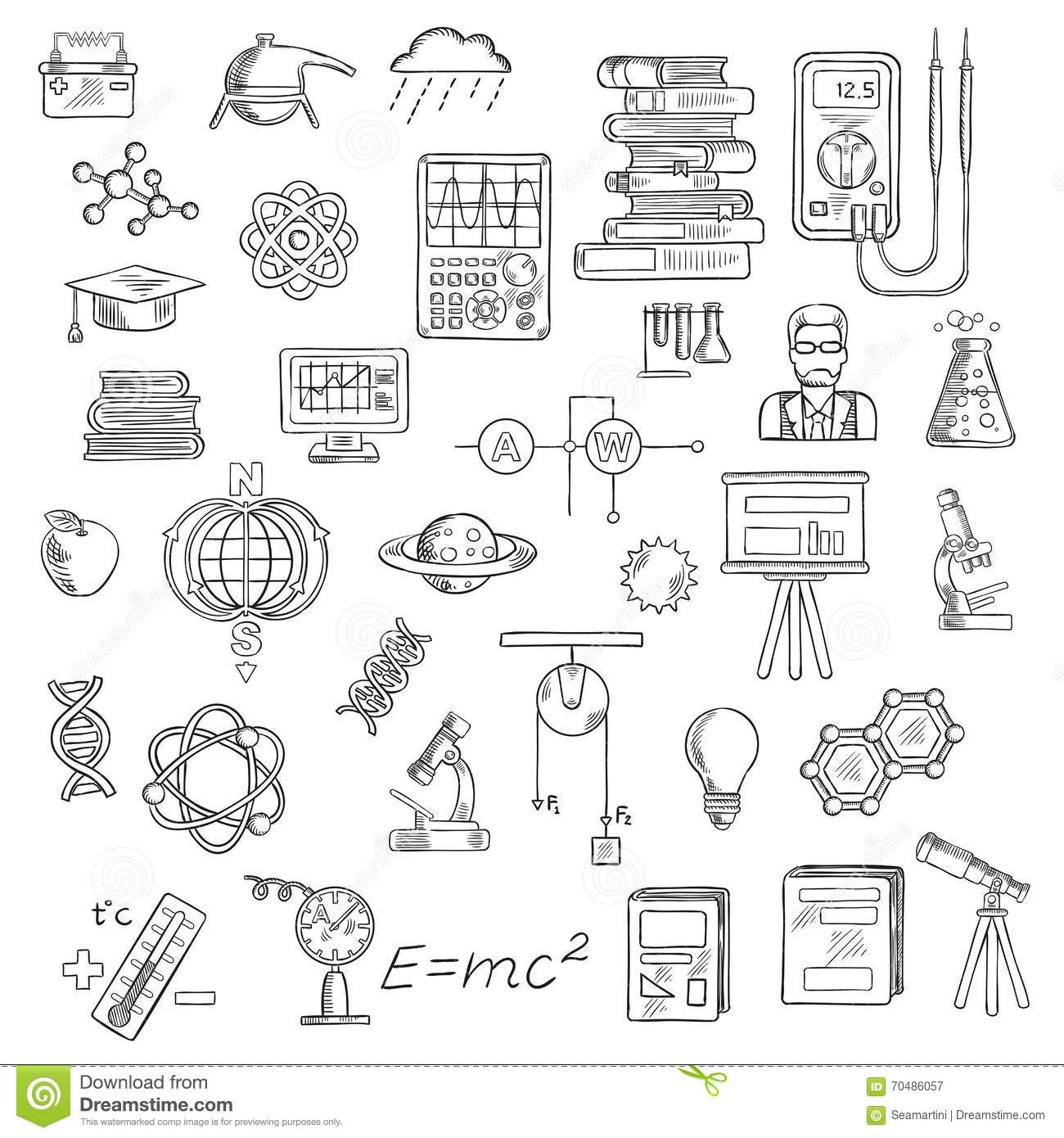 Physics Chemistry And Astronomy Science Sketches Stock