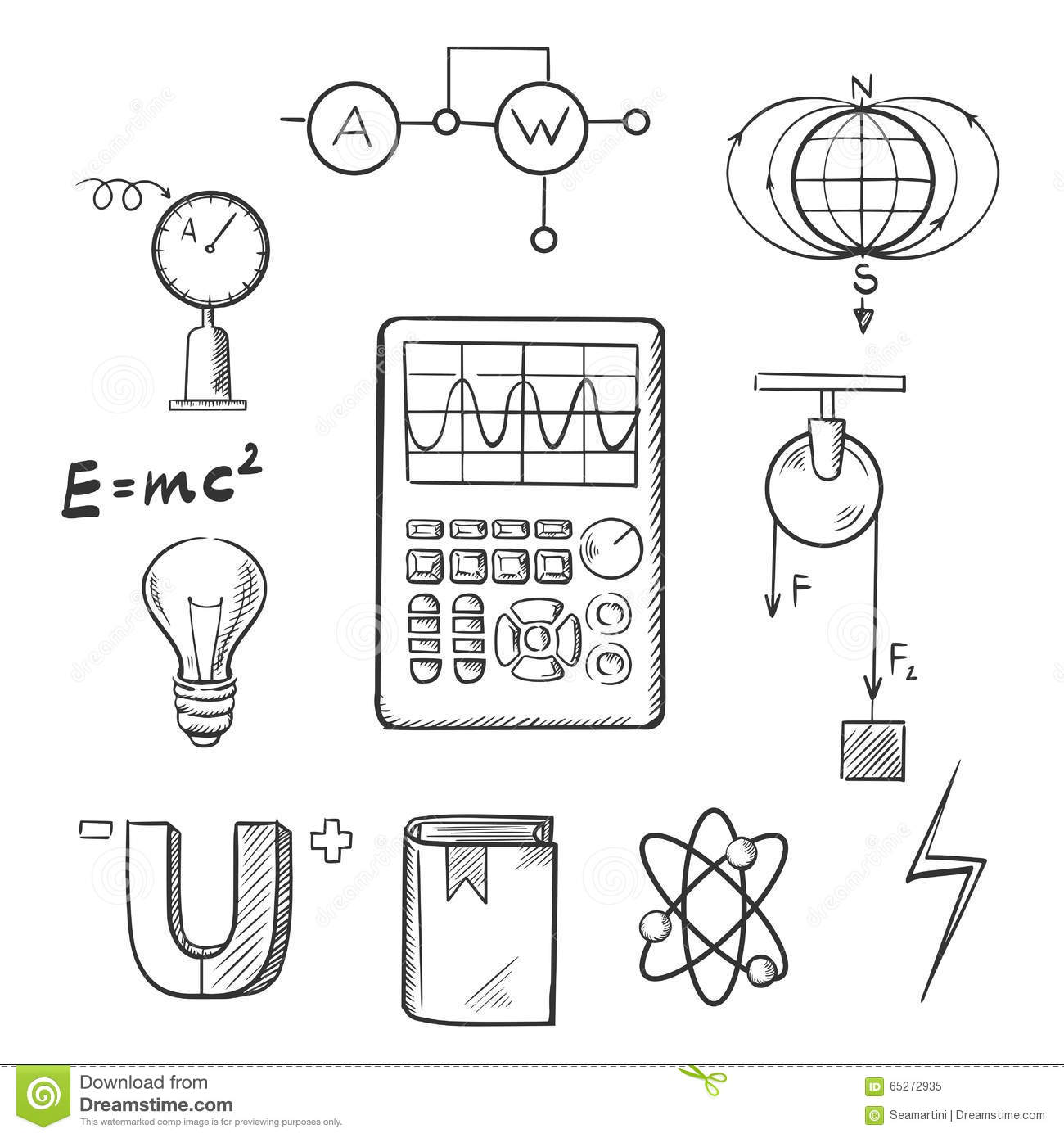 Physics And Mechanics Sketch Icons Stock Vector