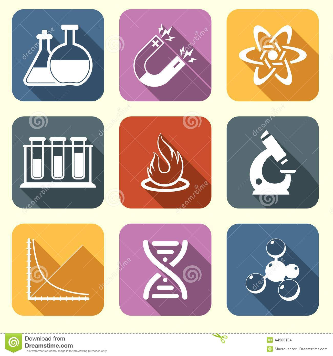 Physics Science Icons Flat Stock Vector
