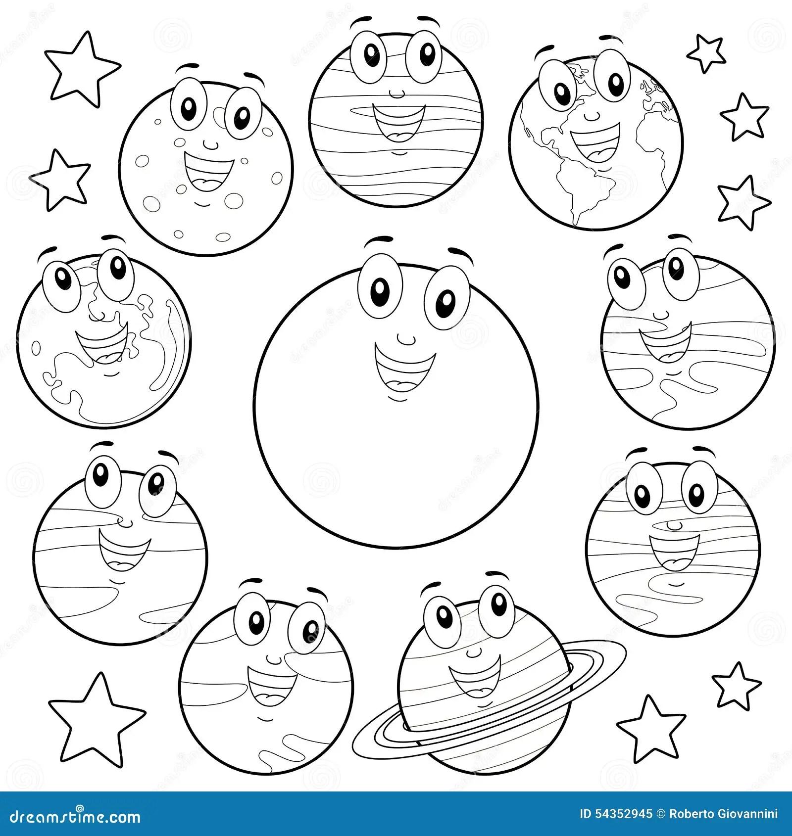 Pianeti Del Fumetto Di Coloritura Con Il Sun Amp La Luna Illustrazione Vettoriale