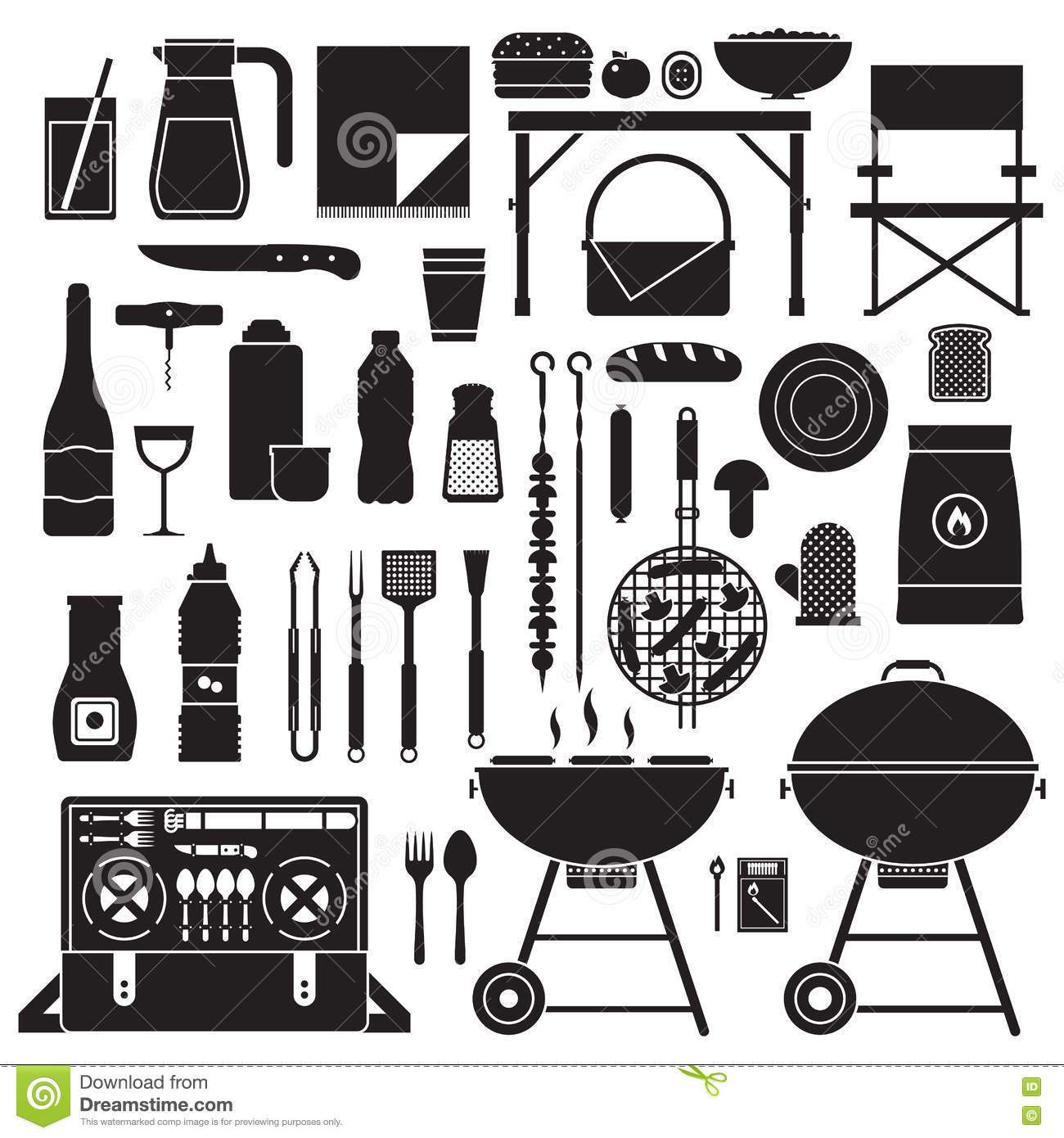 Picnic And Barbeque Outline Elements Stock Vector