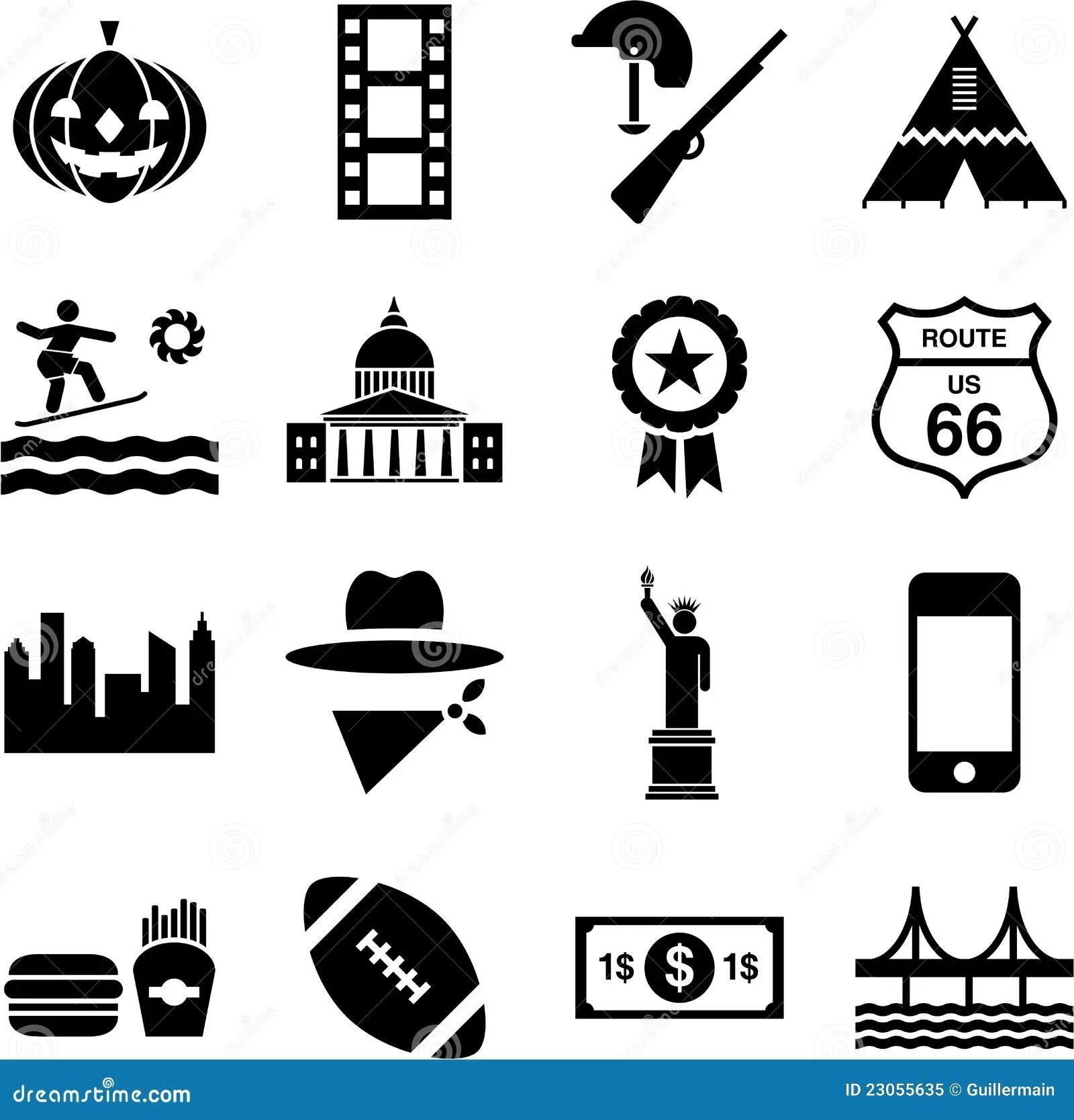 Pictogrammes Des Etats Unis Illustration De Vecteur
