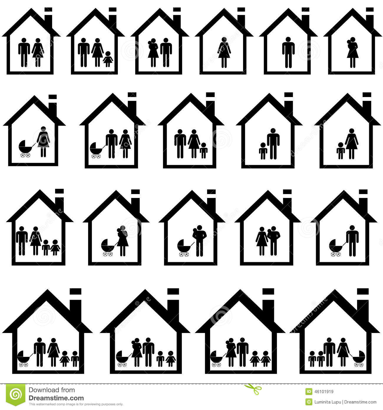Pictograms Of Families In Houses Stock Vector