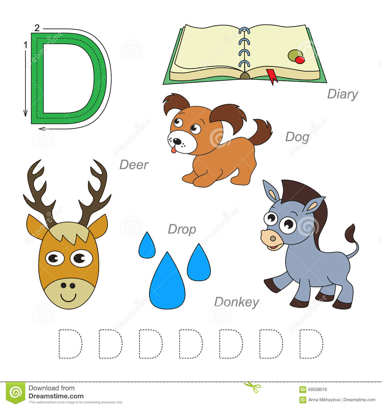 Pictures For Letter D Stock Vector