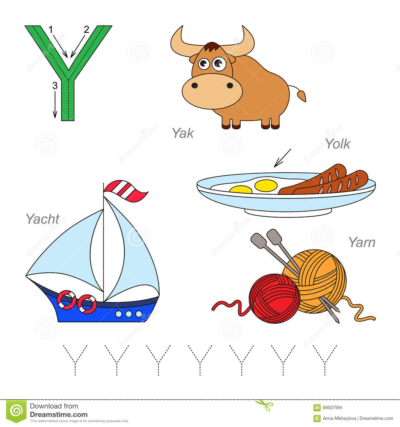 Pictures For Letter Y Stock Vector Illustration Of