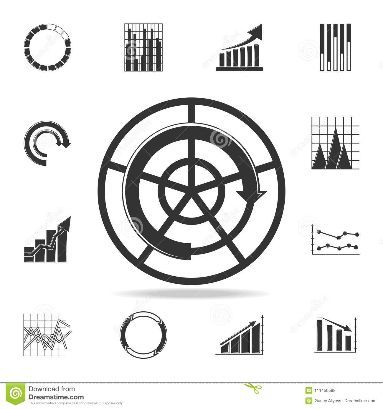 Pie Chart On Radar Icon Detailed Set Of Trend Diagram And