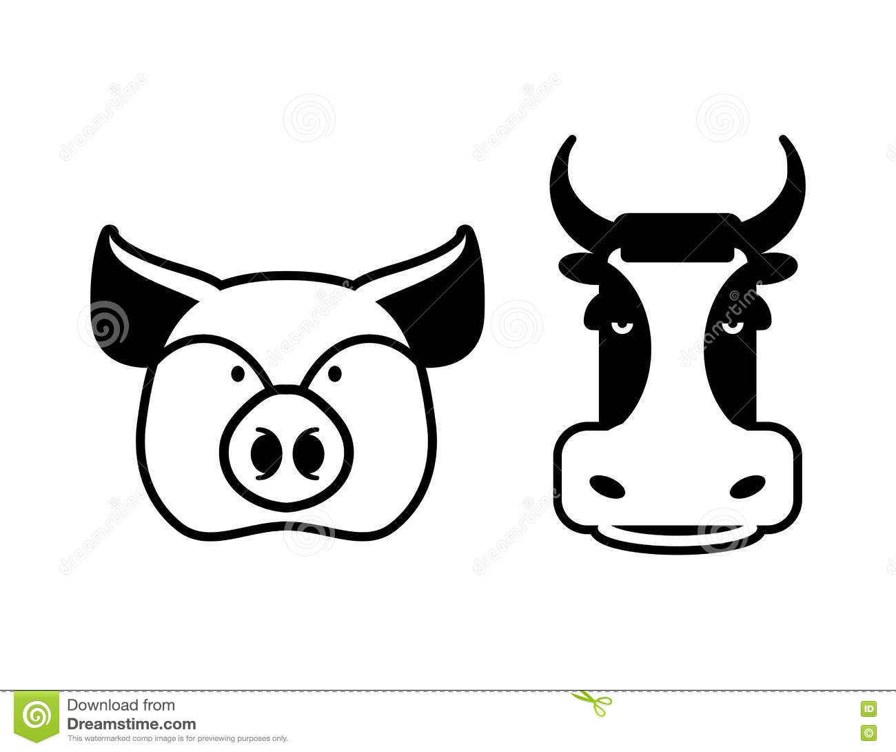 Pig And Cow Icons Head Farm Animal Stencil Pork And Beef