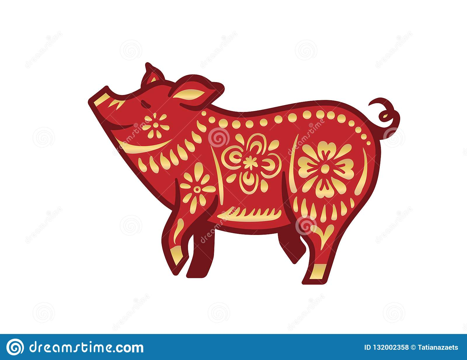 Pig For Happy Chinese New Year Celebration In Red And Gold