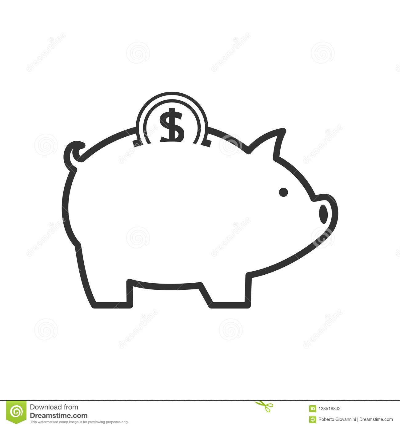 Piggy Bank With Coin Outline Icon On White Stock Vector