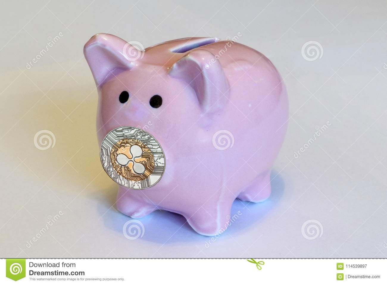 Piggy Bank With Coins Rpple Stock Image