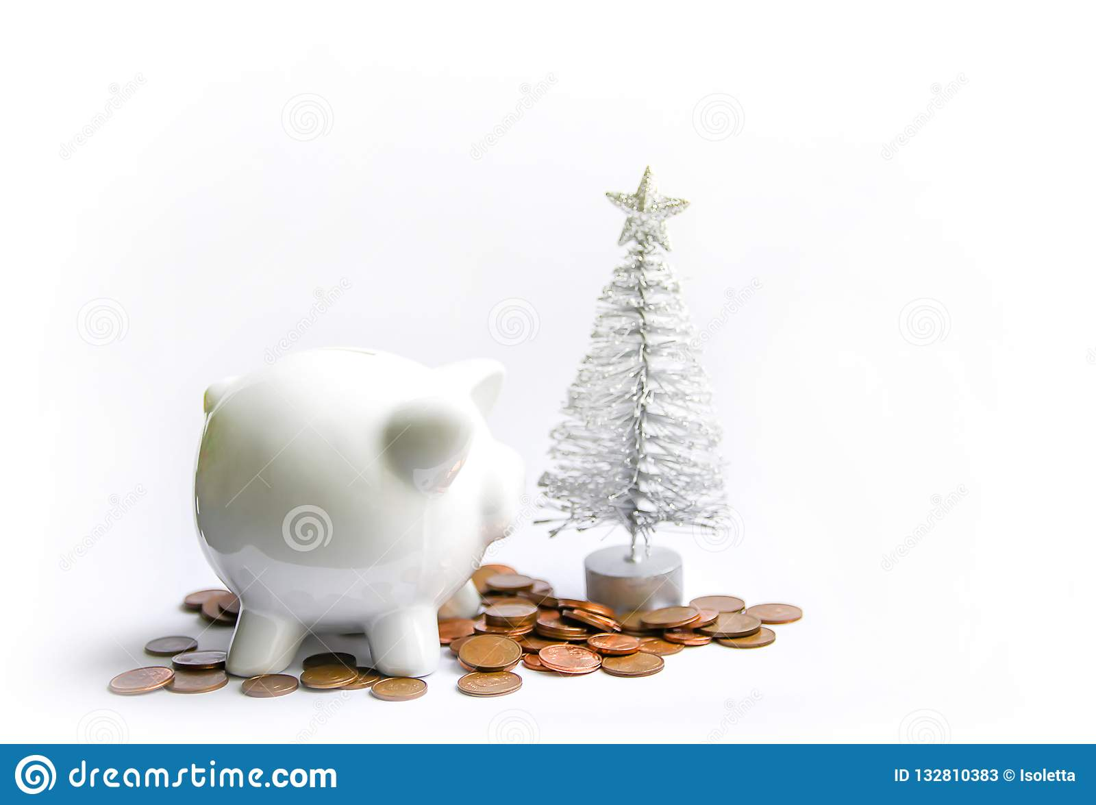 Piggy Bank With Coins White Ceramic Moneybox Stock Image