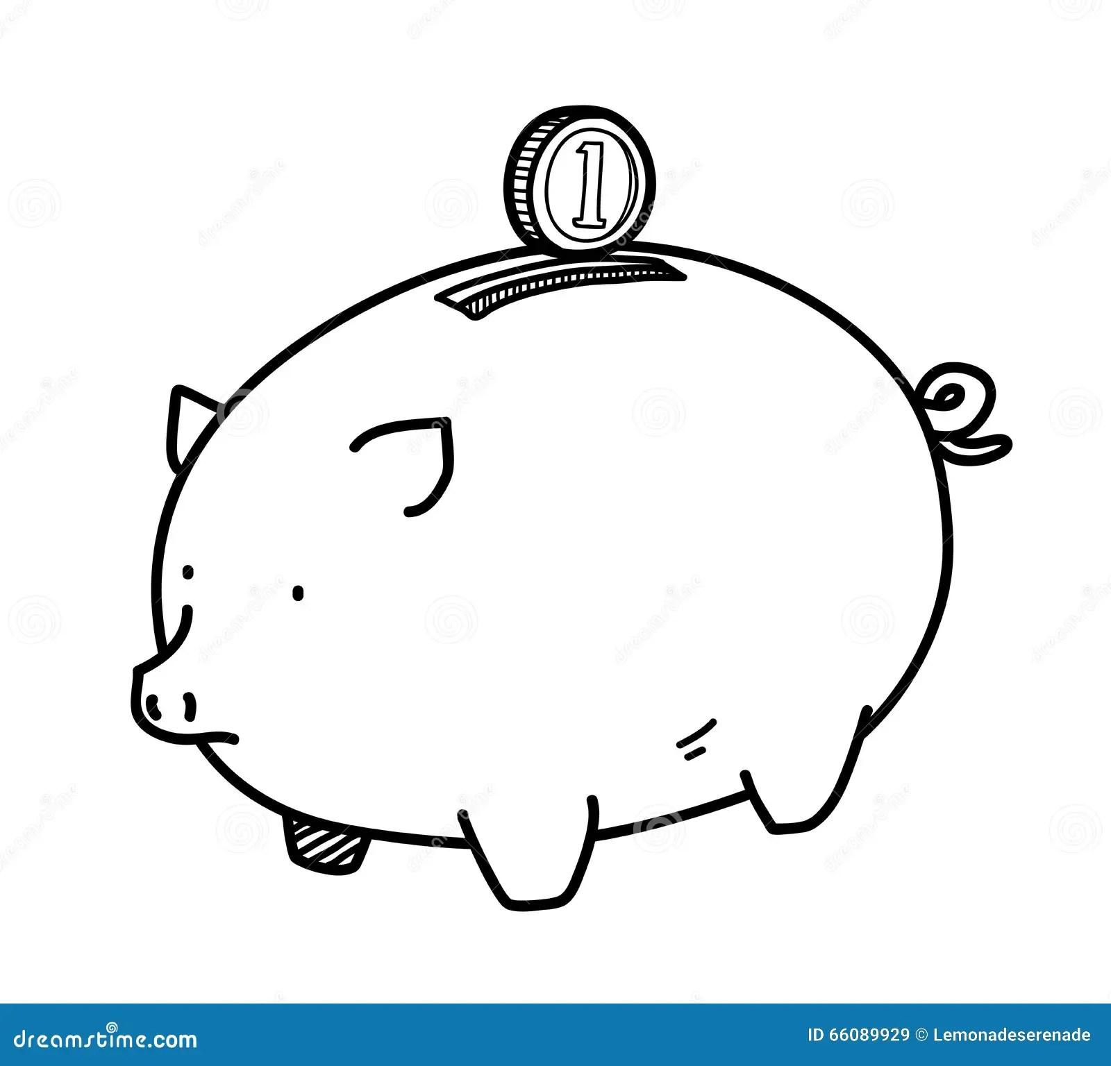 Piggy Bank Doodle Stock Vector Image Of Design