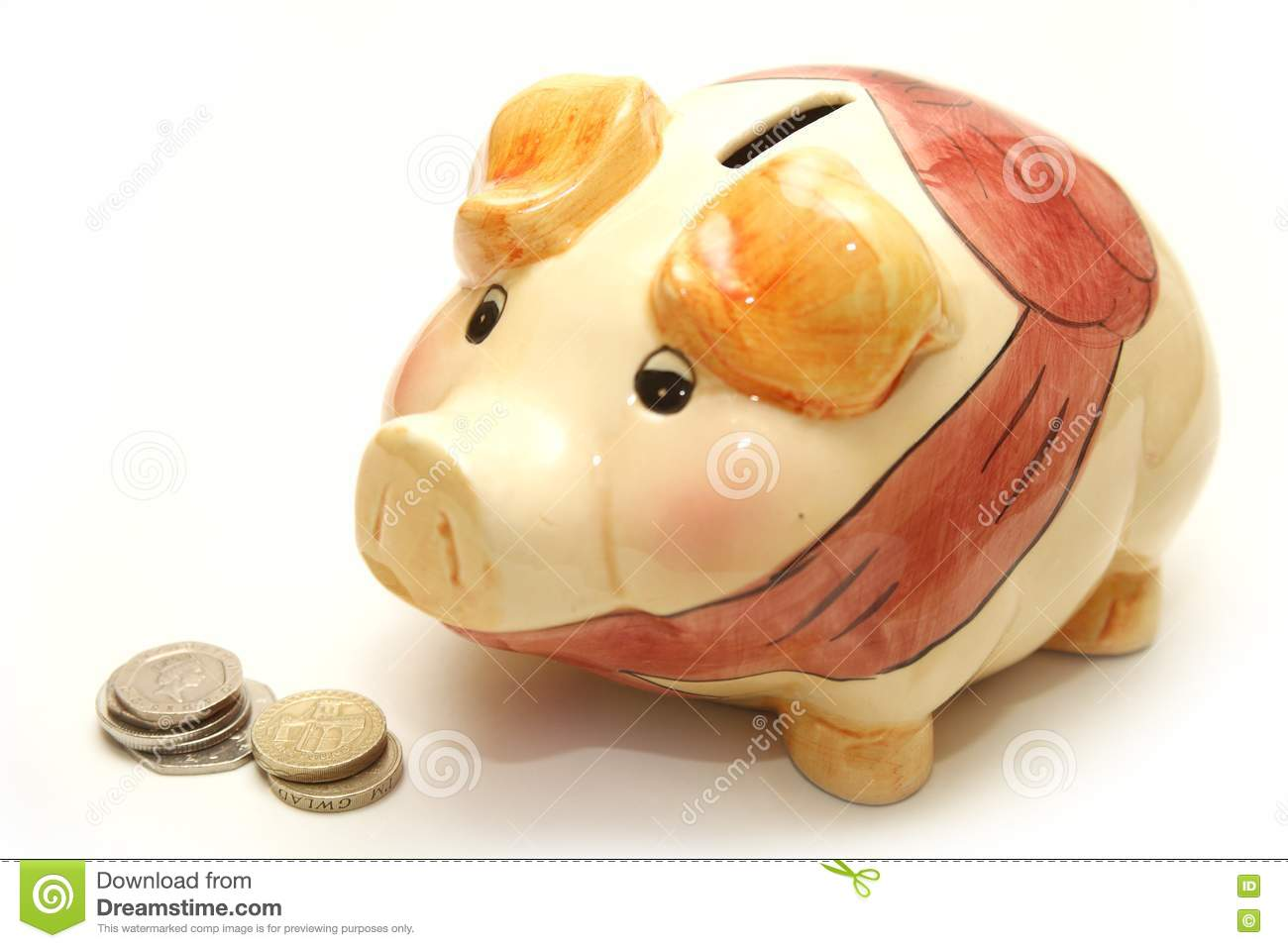 Piggy Bank Next To Coins Picture Image