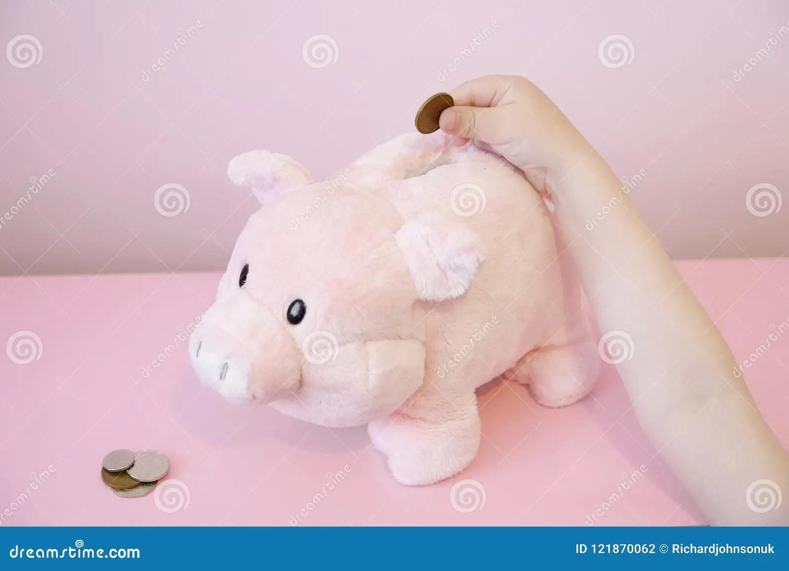 Piggy Bank Savings Childs Hand Coins Kids Money Trust Fund