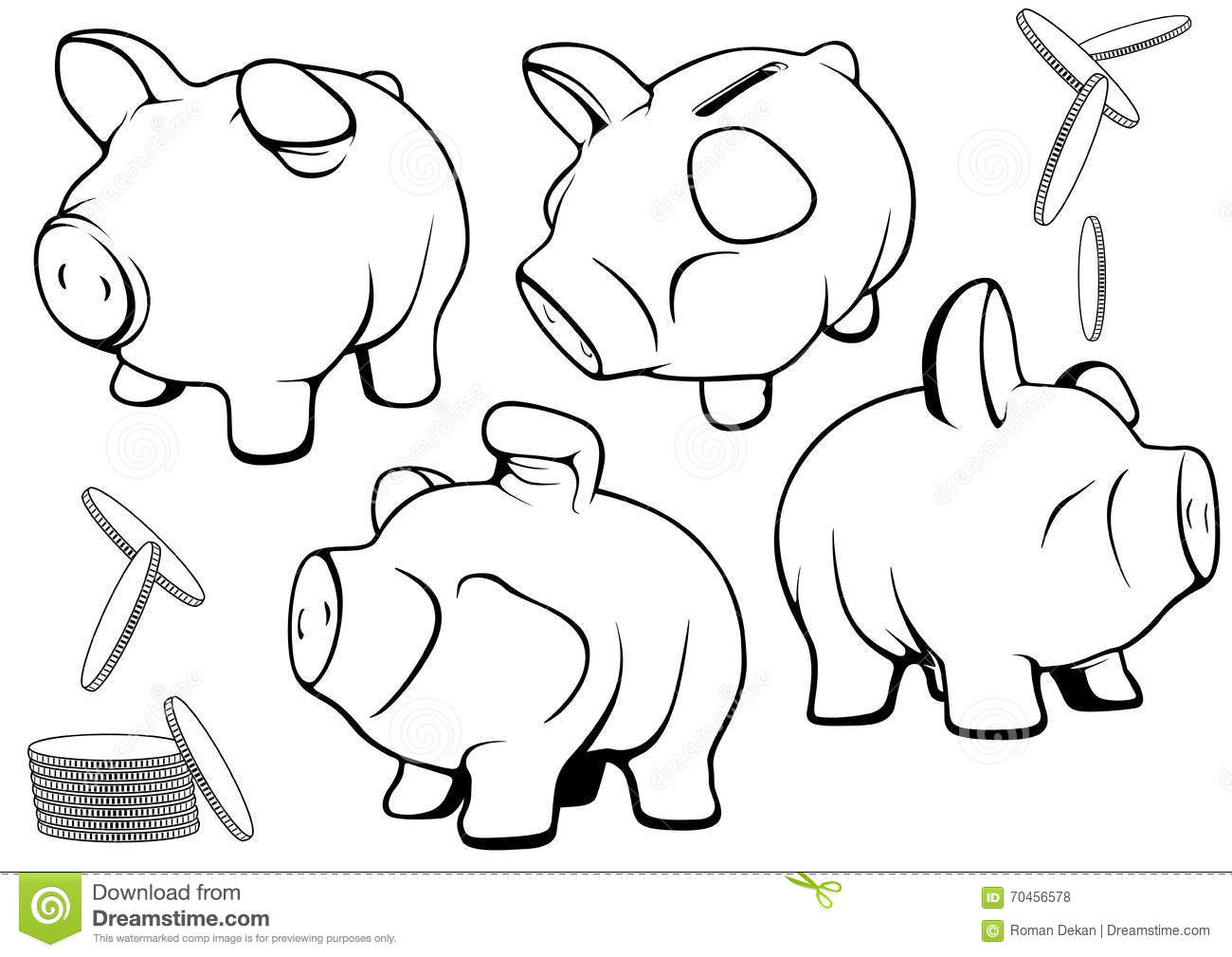 Piggy Bank Set Stock Vector