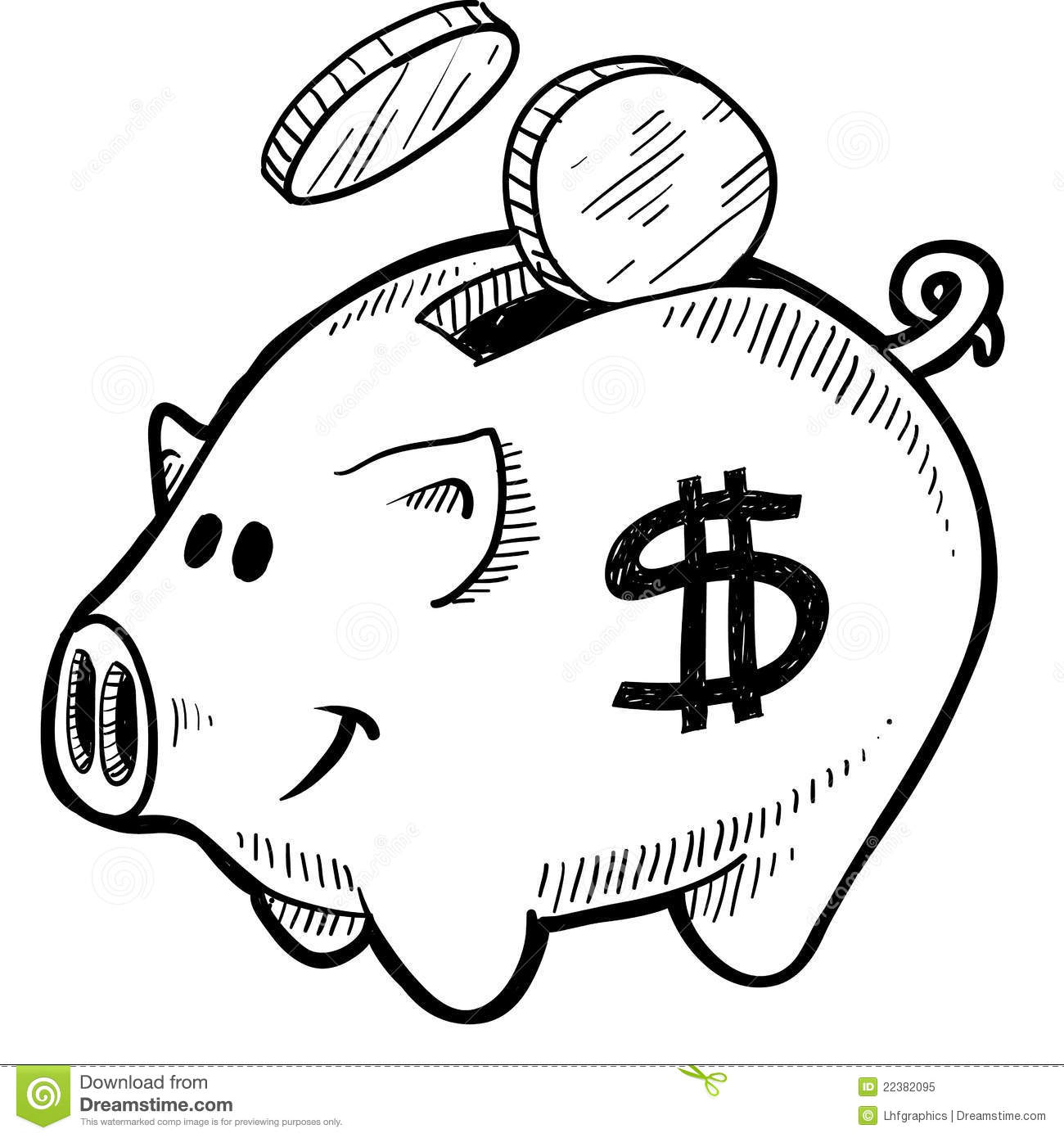 Piggy Bank Sketch Stock Vector Illustration Of American