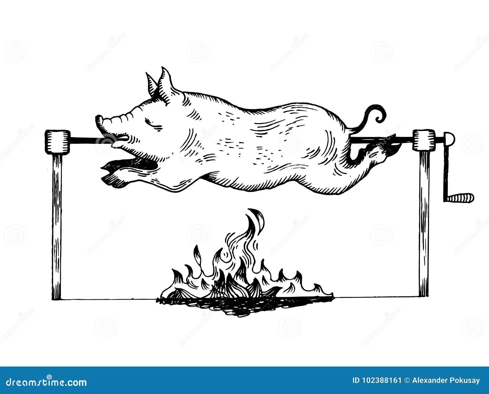 Piggy On Spit Engraving Vector Illustration Stock Vector