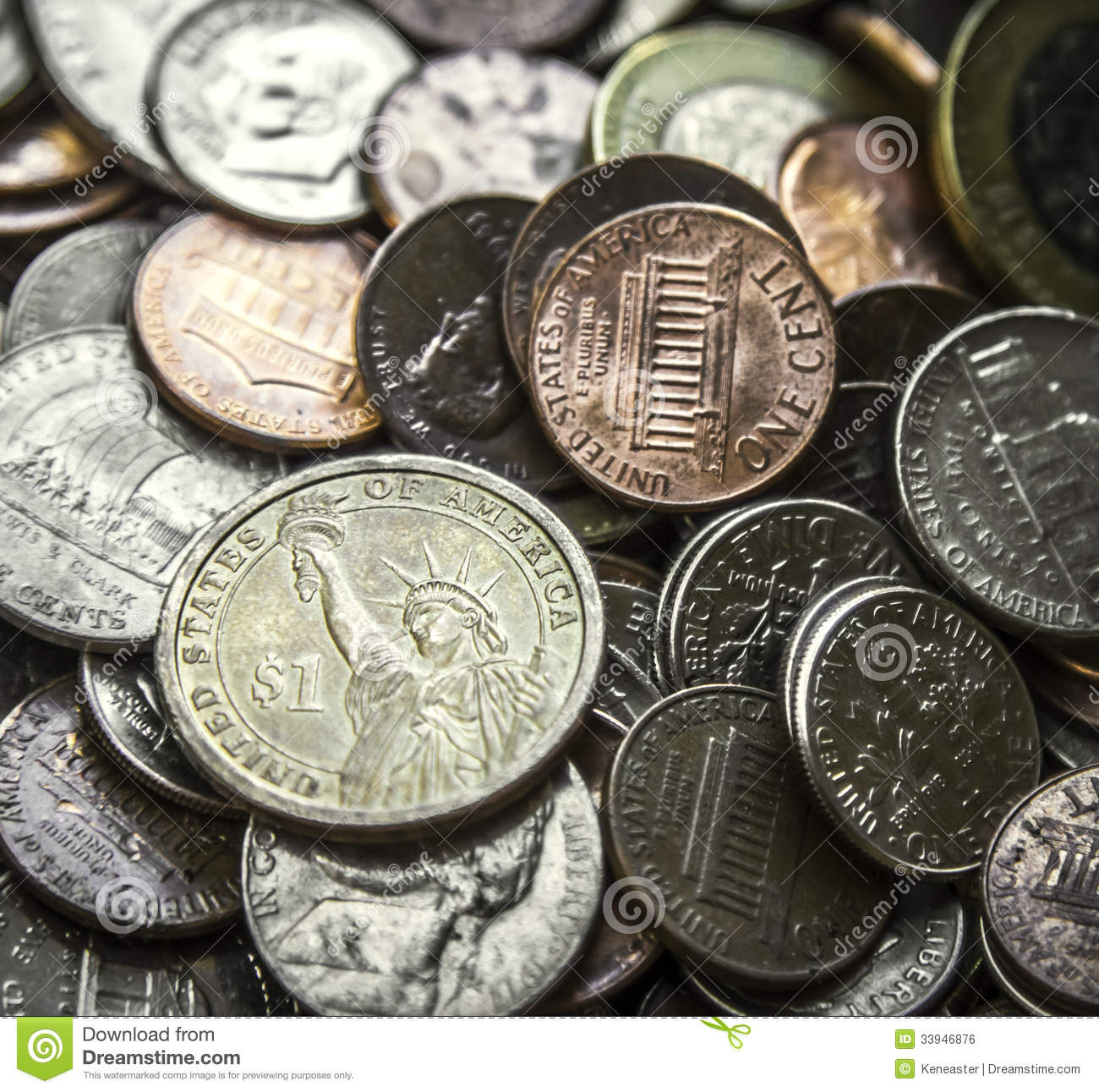 Pile Of American Coins Us Money One Dollar Coin Stock Photo