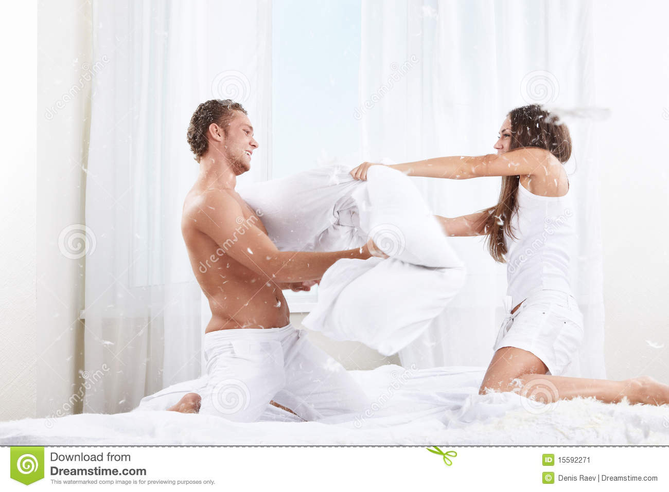 Pillow Fight Stock Image Image Of Caucasian Happiness
