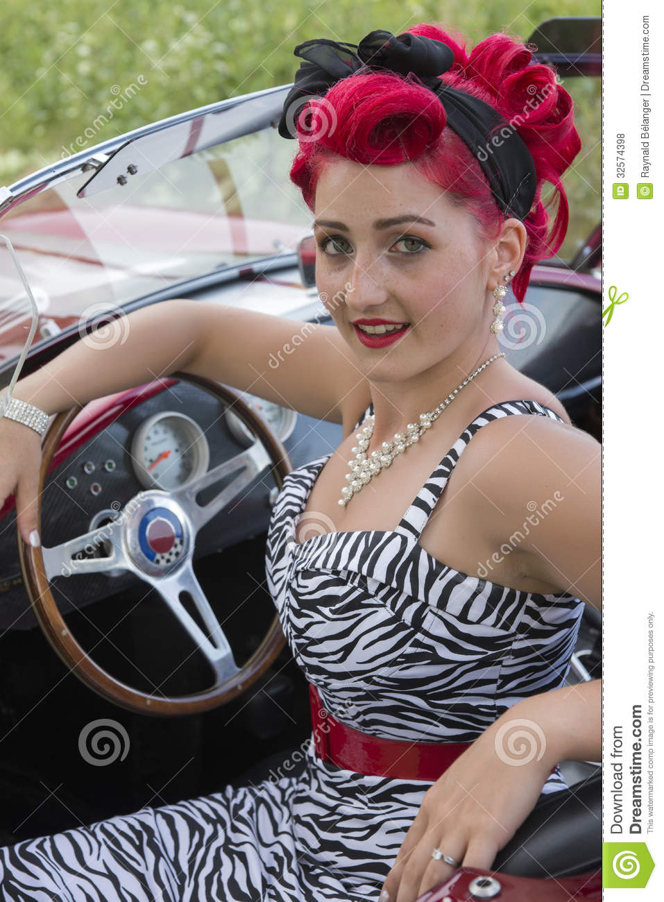 Pin Up Seating On The Car Stock Photo Image Of Business 32574398