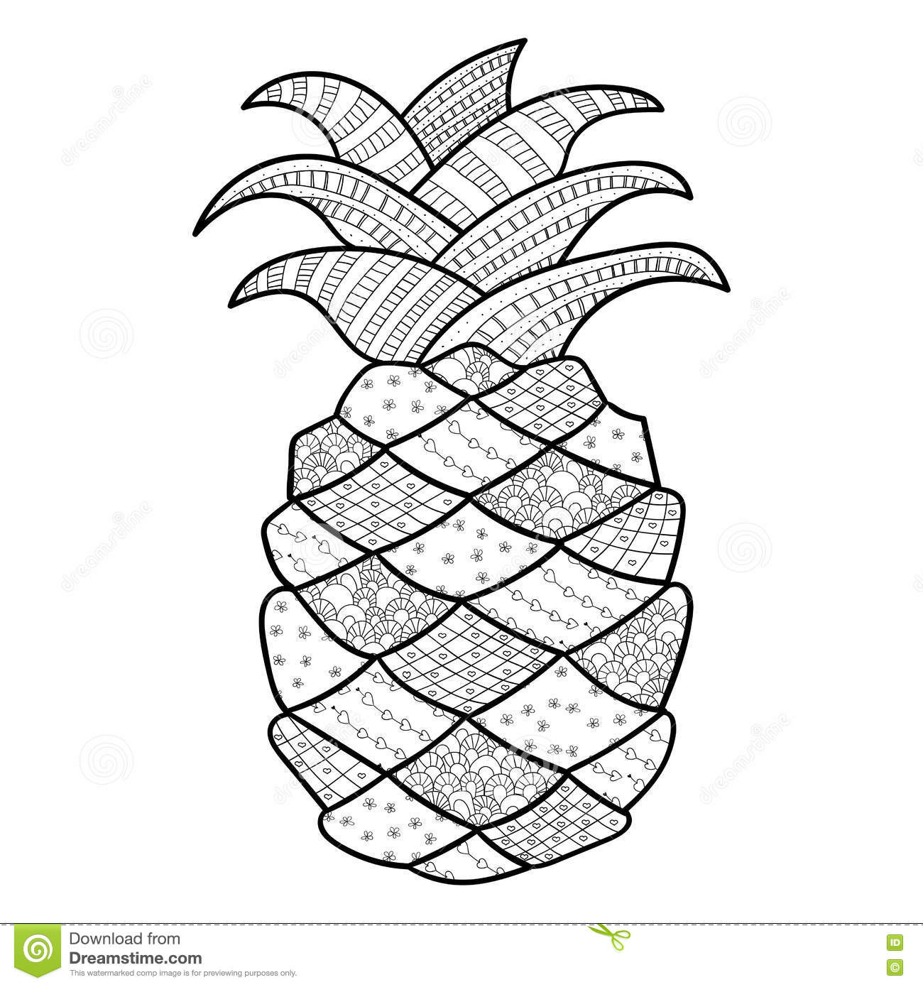 Pineapple Adult Coloring Page Stock Illustration