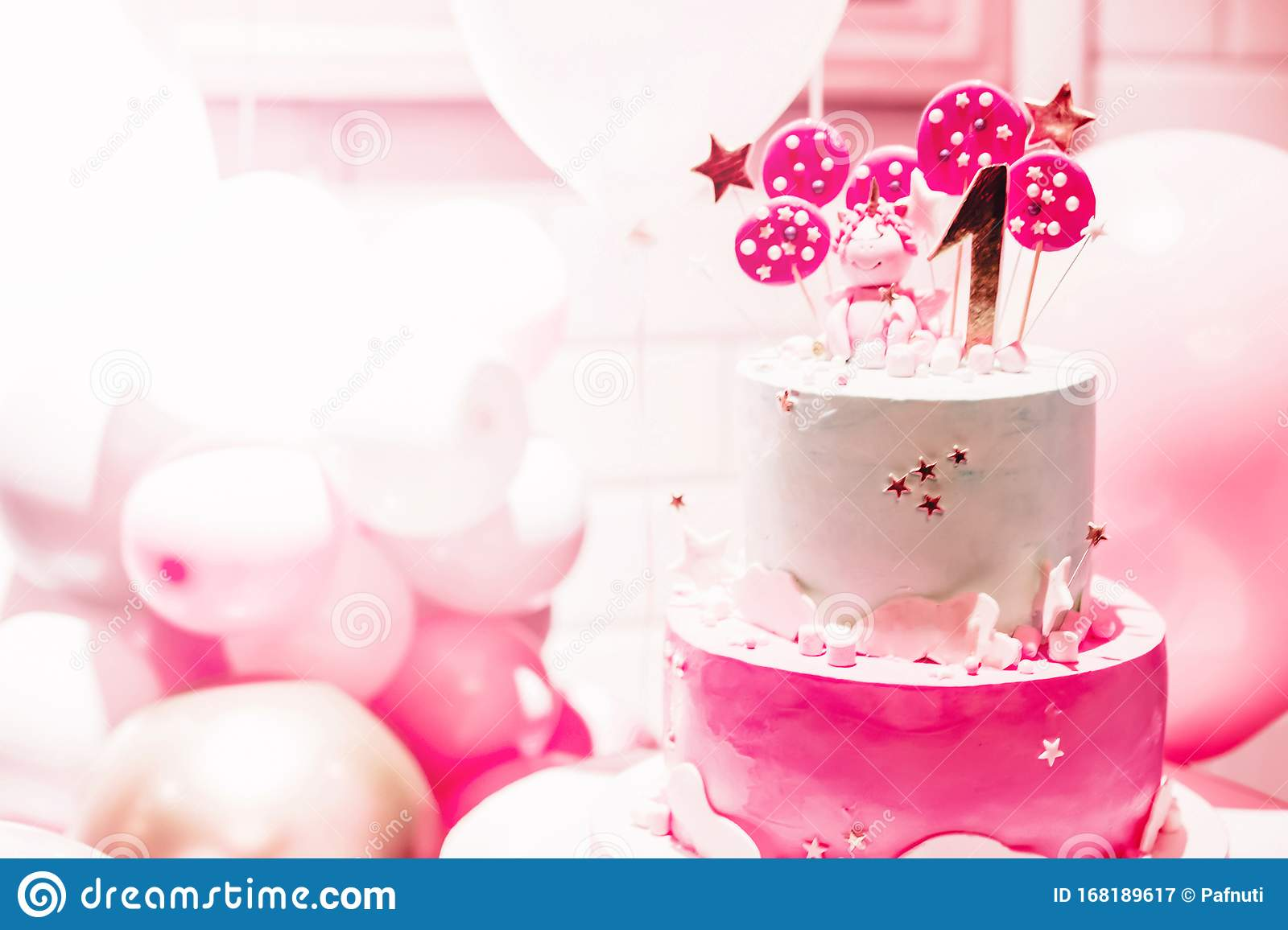Pink Cake With Pink Balloons For Birthday On Pink Background The First Day Of Birth The Girl Or Boy Of 1 Year Interior Pink Stock Image Image Of Copy Birthday 168189617