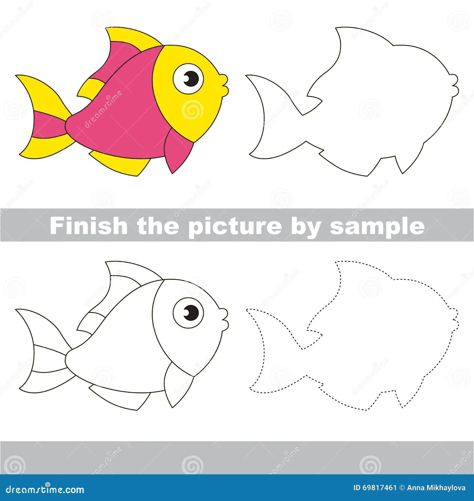 Pink Fish Drawing Worksheet Stock Vector