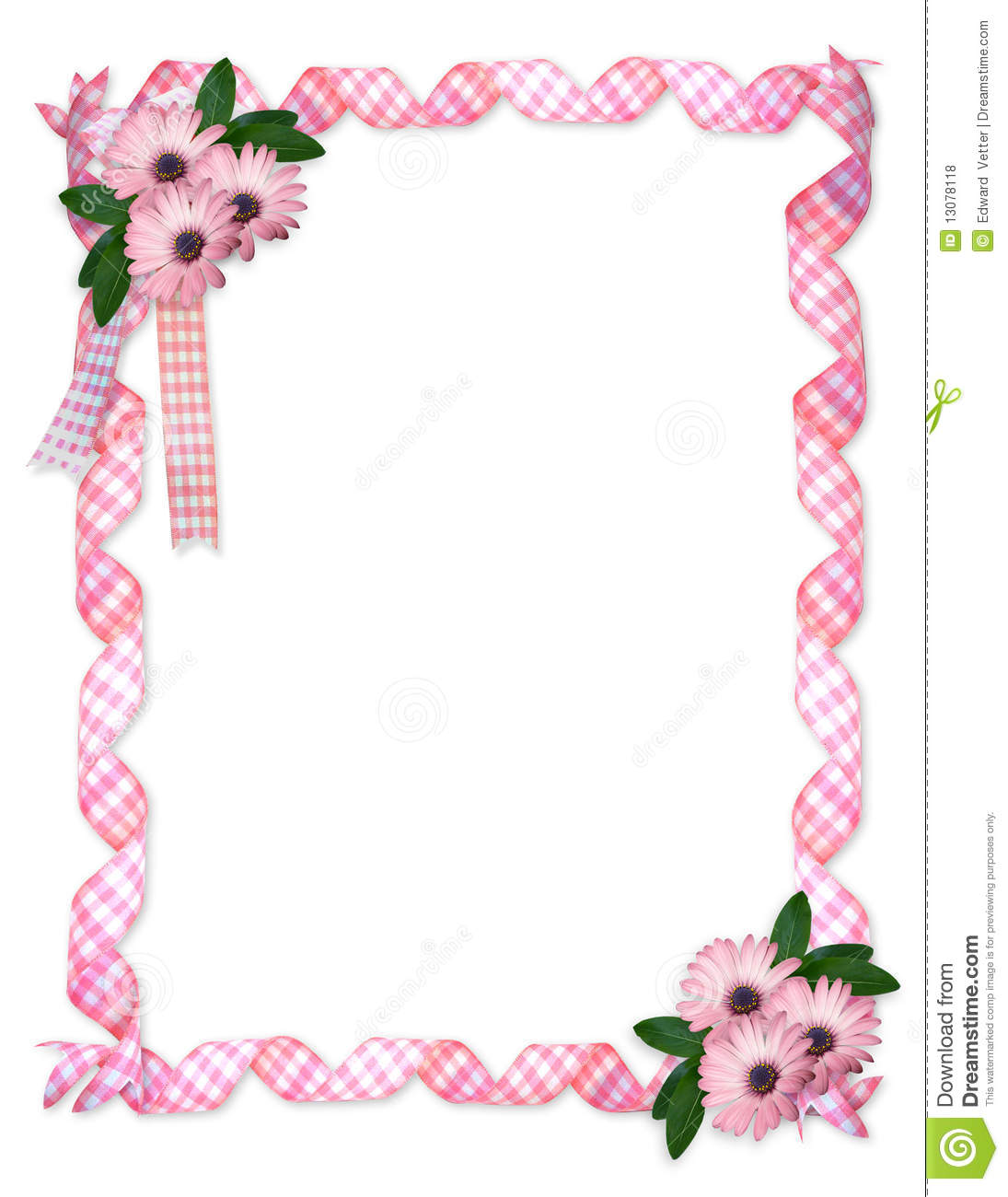 Pink Ribbons Daisy Border Stock Illustration Illustration