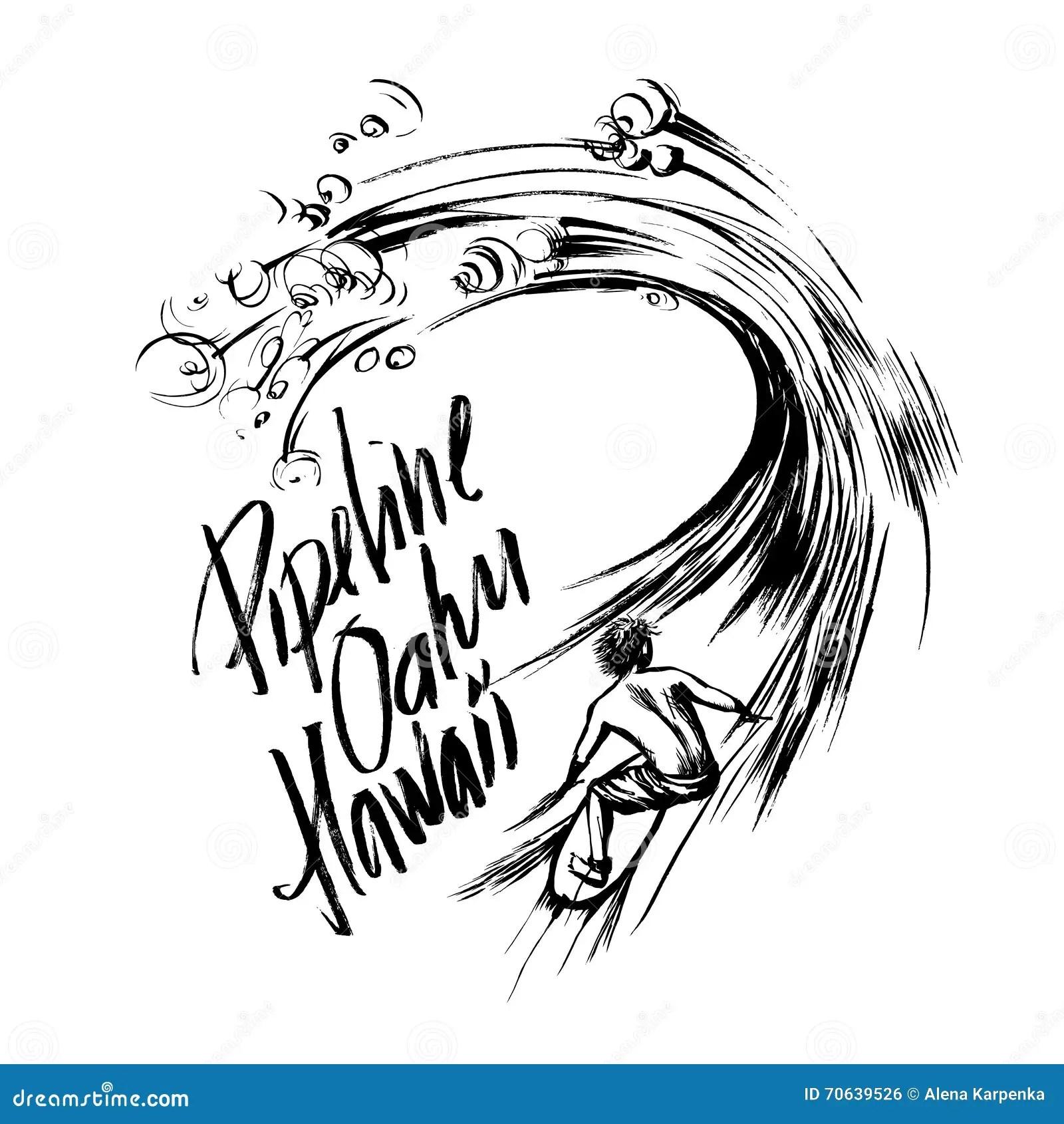 Pipeline Oahu Hawaii Lettering Brush Ink Sketch Handdrawn