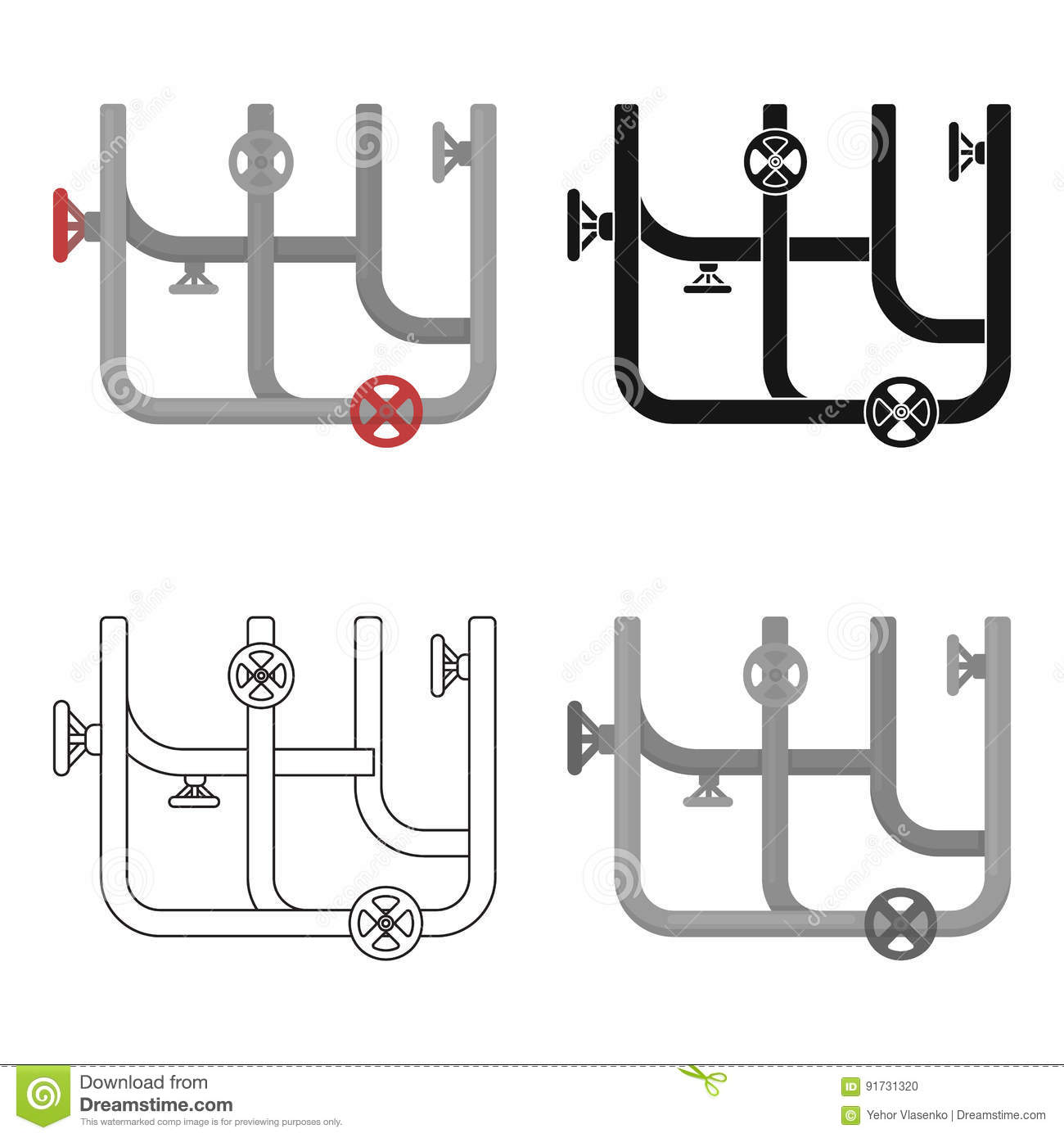 Pipes With Valves Icon In Cartoon Style On White