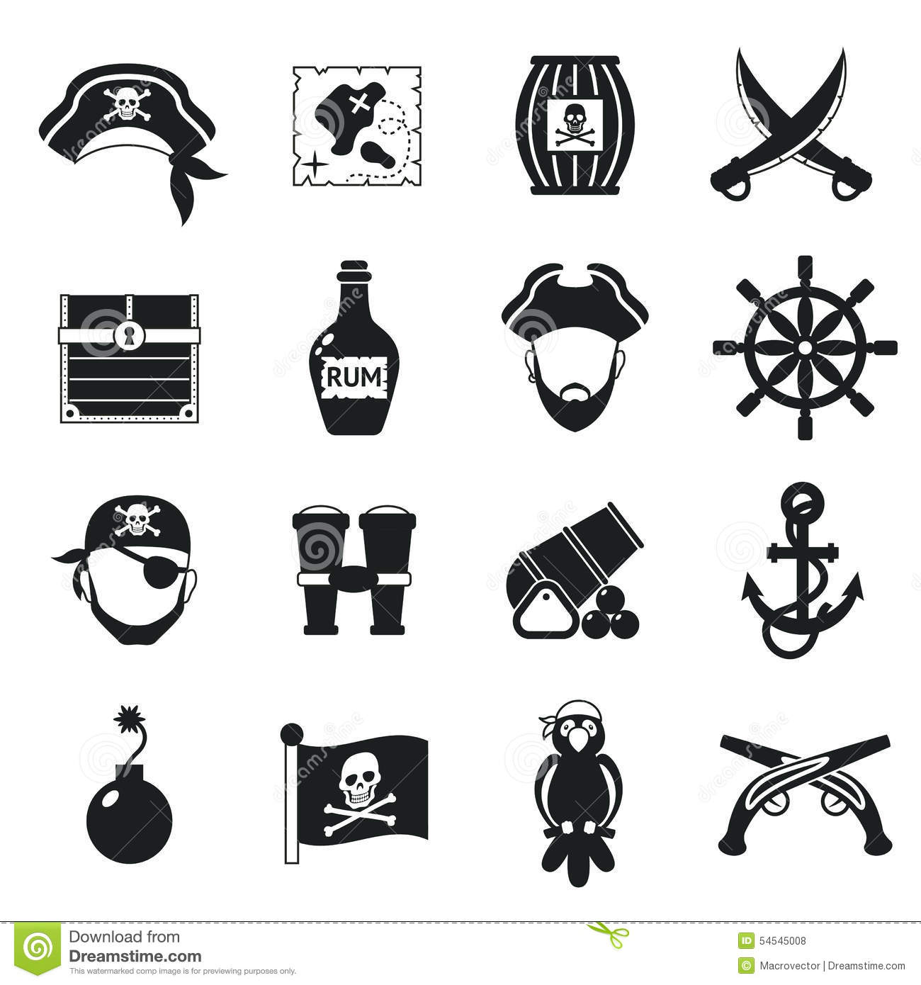 Pirate Icons Set Black Stock Vector Illustration Of