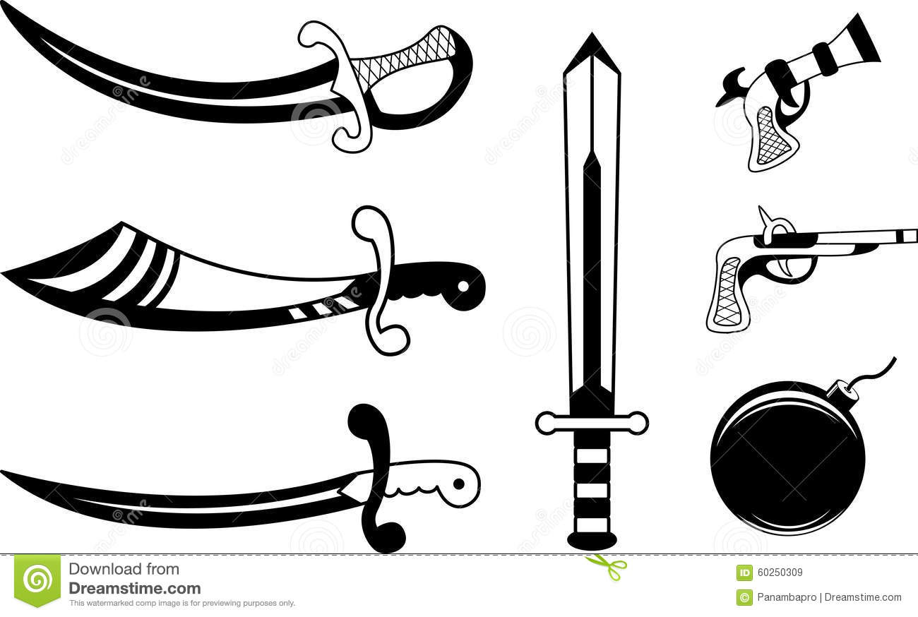 Cartoon Pirate With A Hook And Cutlass Royalty Free Stock