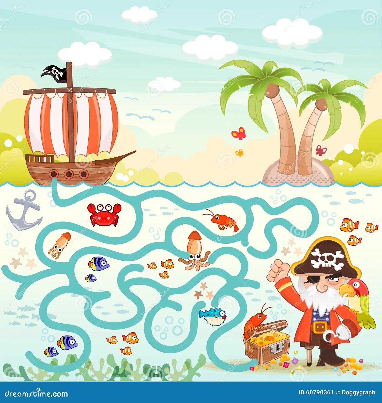 Piraten U Schatz Labyrinth Fur Kinder Vektor Abbildung