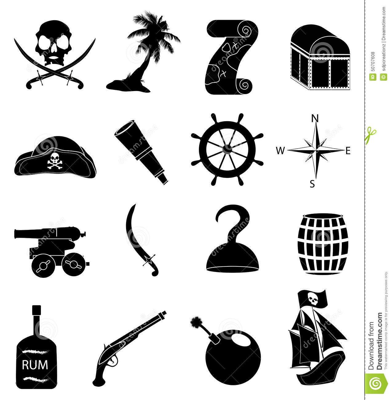 Pirates Black And White Icons Cartoon Vector