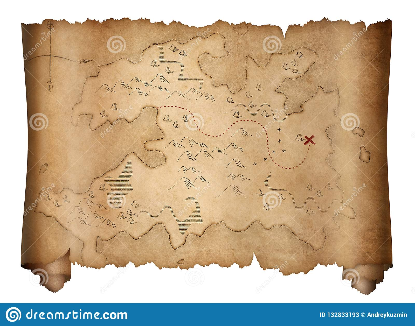 Pirates Old Treasure Map Scroll Isolated On White Stock