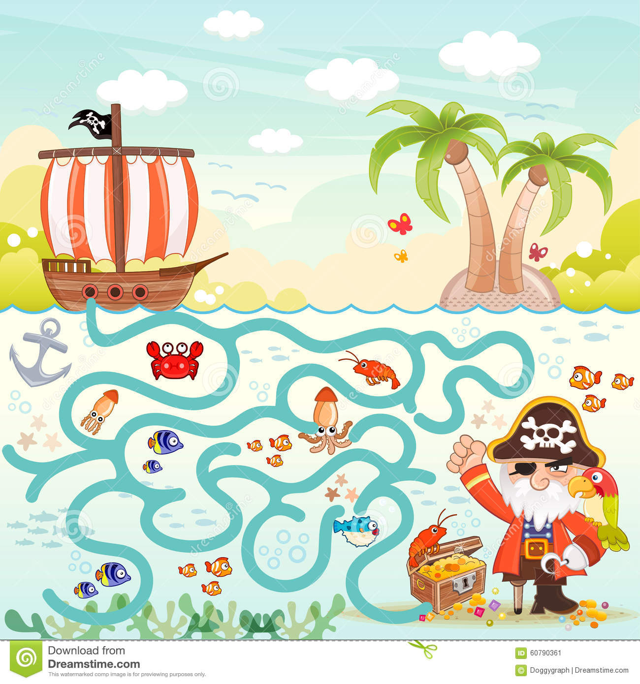 Pirates Amp Treasure Maze For Kids Stock Vector
