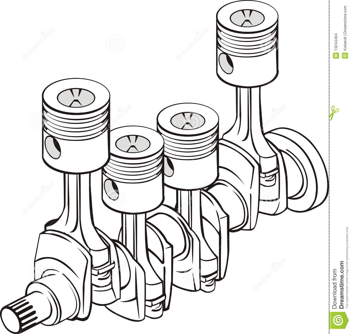Pistons With Crankshaft Stock Illustration Illustration