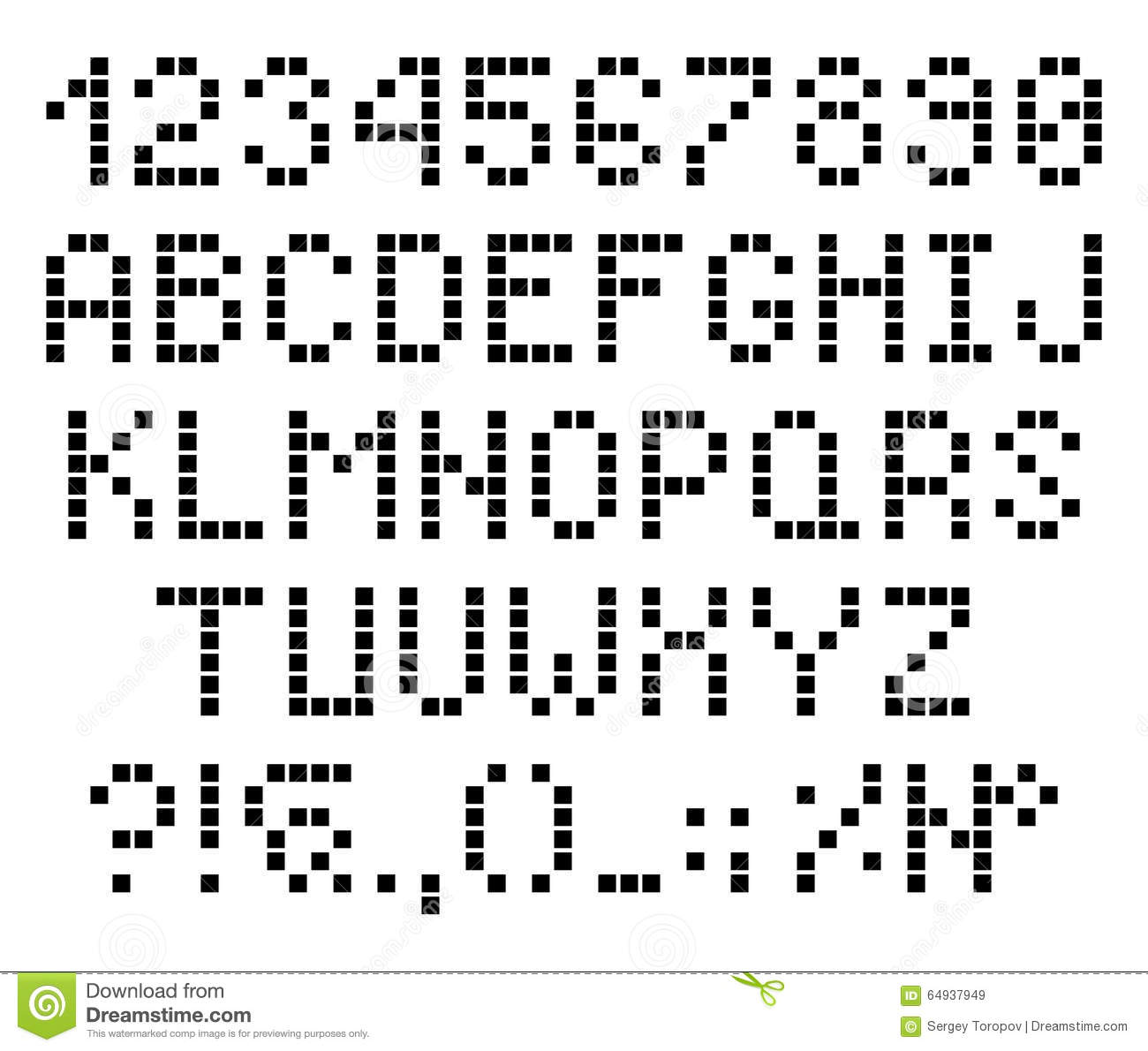 Pixel Dots Letters And Numbers Alphabet Font Stock