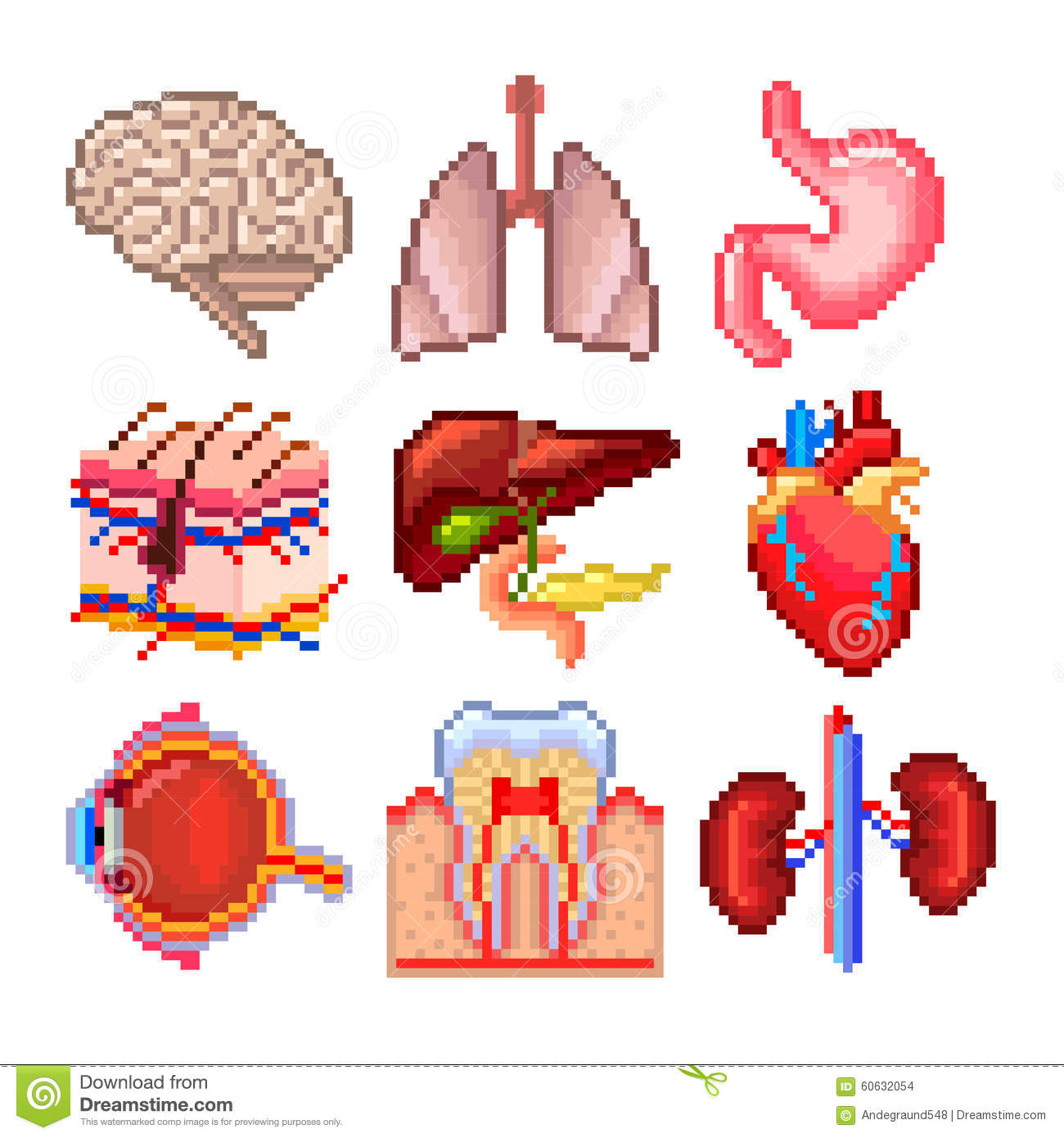 Pixel Human Body Parts Icons Vector Set Stock Vector