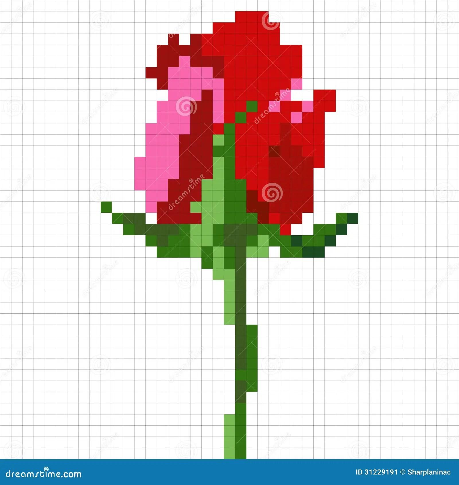 Pixel Rose Stock Image