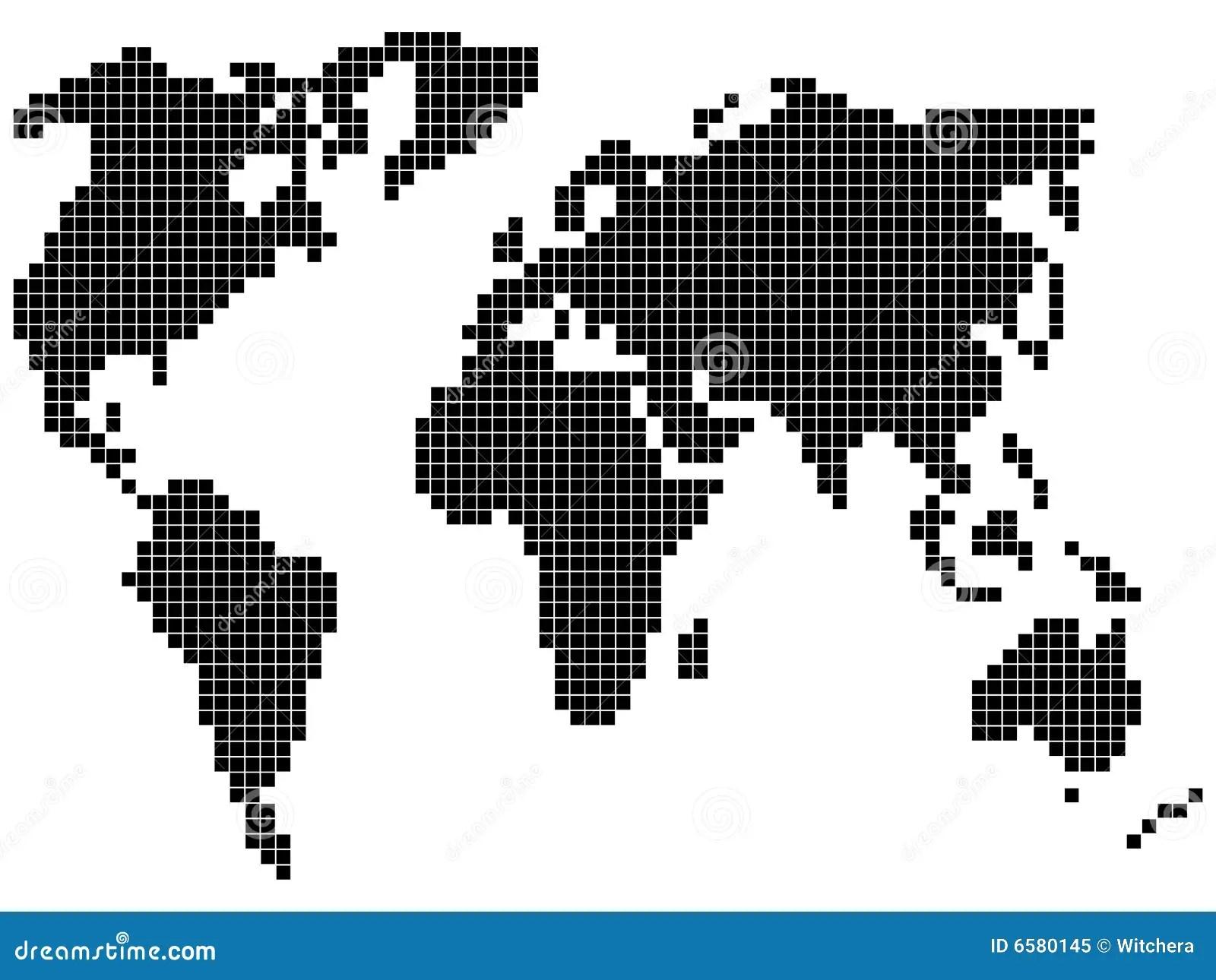 Pixel World Map Stock Illustration Illustration Of